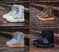 Wholesale Pirate Bands - New Basketball Shoes Boost 750 Pirate Black Light Grey Gum Brown Men Kanye West Shoes Sports Fashion Sneaker Boot With Original Box