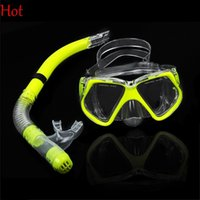 Wholesale diving equipment set - Quality Hot Diving Mask Tempered Dive Snorkeling Scuba Face Masks Swimming Set Diving Equipment Silicone Scuba Snorkeling Kit Yellow TK0868
