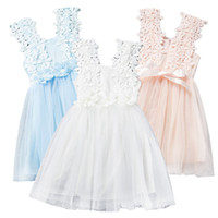 Wholesale Gauze Sundresses - Prettybaby girls lace flower sundress baby kids girl clothes sleeveless gauze beading dress summer princess dresses 6 colors Pt0223#