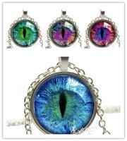 Wholesale Cat Eye Green Necklace - 2015 fashion Jewelry Cat Eye Necklace Pendant Charm Rhinestone Ethnic Necklace for Men Women free ship