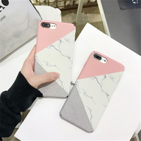 Wholesale Free Patterns For Bags - Free Shipping Hard PC Material Geometric Splice Pattern Marble Case For iphone6 6p 7 7p 8 8p X with OPP bag
