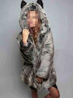 Wholesale Womens Ear Warmers Black - 3colors Winter Womens Long Sleeve Faux Fur Jacket Hooded With Bear Ear Cute Thick Coat Outerwear Overcoat Parka