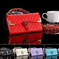 Wholesale Chain Bag Iphone Case - 6pcs lot Rhinestone Fashion Grid Pattern Metal Chain Wallet Case For Iphone 6 4.7inch Card Cash Slot Bag Photo Frame Pouch Cover