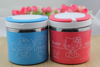 Wholesale Thermal Box Free Shipping - Free Shipping Kawaii Hello Kitty Stainless Steel Inner Double Deck Thermal Lunch Box Vacuum Bento Box Retail