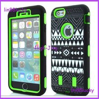 Wholesale Aztec Silicone Iphone Covers - Aztec Tribal Tribe pattern Hybrid Robot Case Rubber Rugged Shockproof Heavy Duty Silicone+PC Case Cover for iphone 6 6plus 4.7'' 5.5''