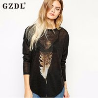 Wholesale Basic T Shirt Women Plain - Wholesale-Korean Fashion Women Long Sleeve Feather Print Casual Loose Tunic T Shirt Pullover Tops Basic Plain Tee Camisetas Mujer 1909