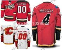 красная майка команды оптовых-30 Команд-Оптовая Продажа Outlet #4 Kris Russell Jersey Red White Alternate K. Russell Calgary Flames Hockey Jersey Limited Продажи