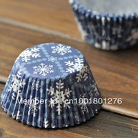 Wholesale Greaseproof Cupcake Liners Bulk - Muffin Mold SNOW Flake bulk 250pcs lot High temperature baking greaseproof paper mini muffin cupcake liners cupcake wrappers