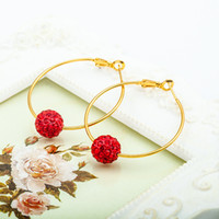 Atacado- Gold Color Crystal Ball Beads Hoop Earrings Moda Mulheres Big Round Circle Large Loop Earring Rhinestone Charm Ear Jewelry