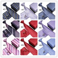 Wholesale Polyester Ascot - Business or Wedding Neck Tie Set Necktie Cufflinks Men's Ties Polyester Ascot Hankies Striped Tower Pocket Square for Formal Occasion