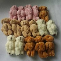 Wholesale Pink Stuffed Teddy Bears - Wholesale-6cm Plush Mini Teddy Bear Long Wool Small Bear Stuffed Animals Toys Plush Pendants For Key chain Bouquet 4color