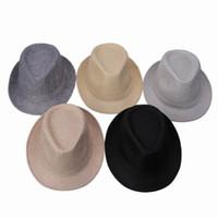 Wholesale trendy hats women - Trendy Unisex Jazz Hats Women Man Outdoor Casual Panama Hats Stylish Summer Sun Fedora Caps DWT*3
