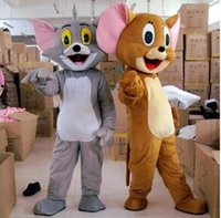 Wholesale China Toms - send china SAL High quality Tom Cat and Jerry Mouse Mascot Fancy Dress Outfit Chirstmas Adult Size Cartoon Costume free shipping