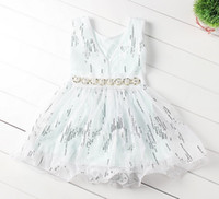 Wholesale Paillette Tank Dress - Korean Children Clothing Lace Sequins Sleeveless Summer Dresses Kids Clothes Girl Paillette Sun Tank Dressy Girl Princess Tutu Dress D4225