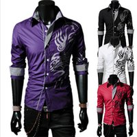 Wholesale-Plus Size Herrenmode European Style Tattoo Drache druckte Blusen kühlen Mann Silm Fit Shirt Mann Winter-T-Shirts