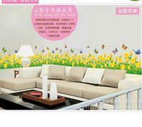 Wholesale Wall Decorations Tulips - 5PCS Yellow Tulip Flower Decal Vinyl Wall PVC Decor Decoration Living Corner Bottom Clean DIY Home Wallpaper Room Sticker Poster