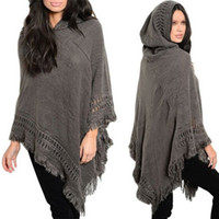 Wholesale Ladies Hooded Poncho - Wholesale- New Design Tassel Lady Women Loose Knitted Poncho Irregularity Winter Warm Sweep Coat Sweater Outwear