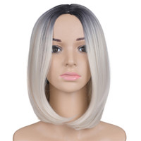 Wholesale auburn bob wig - Ombre synthetic wigs Mtmei hair straight short bob women's wigs,ombre two tone color high temperature fiber,free shipping