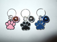 Wholesale Enamel Bell Charms - Free Shipping 50PCS Fashion Vintage Mixed Color Enamel Dog Paw Print Bell Charms Keychain Fit DIY Key Chains Accessories N882