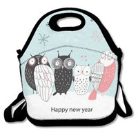 Owl Merry Christmas Lunch Box Lunch Tote con tracolla regolabile Teen cute Portable Food Bag per donna