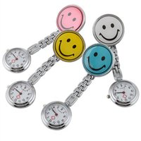Wholesale Medical Choice - Crazy Selling New Smile Face Nurse Watch Doctor Metal Stainless Nurse Medical Clip Pocket Watches Multicolor For Choice Free Shipping