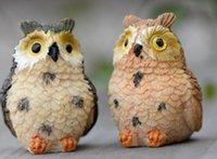 ingrosso mini figurine-Micro mini fata giardino miniature figurine resina gufo uccelli animali figura giocattoli decorazione della casa ornamento spedizione gratuita