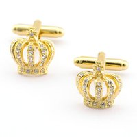 Wholesale A Pair Diamond Rhinestones Plated Cufflink Set Gold Crown Cross Shirt Wedding Vintage Unique for any occasions with Gift Box
