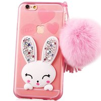 Wholesale Decorations For Mobile Phone Rhinestones - 2015 Rabbit Rhinestone Cell Phone Case Covers Lovers Mobile Shell Stand Creative Trend with Hairball Decoration