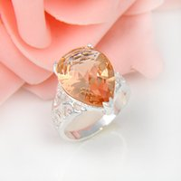 Wholesale Morganite Crystal - Bulk 3Pcs lot Holiday Gift Jewelry Unique Drop Morganite Crystal Gems Russia 925 Sterling Silver Plated USA Weddiing Party Ring