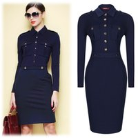 Wholesale Office Sheath Dress - Women Summer Dark Blue Vintage Collared Elegant Long Sleeve Bodycon Workwear Business Office Career Casual Dress Size SM-XXL3117