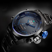 Wholesale Weide Wristwatches - WEIDE WH2309 Men Sport Watches 30m waterproof Military Watch Full Stainless Steel Wristwatches Casual Fashion Quartz LED Watch