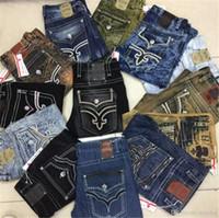 Wholesale Bleach Coat - Fashion Mens Robin Rock Revival Jeans Street Style Boy Jeans Denim Pants Designer Trousers Men's Size 30-42 New
