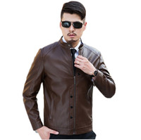 Wholesale Handsome Men Pictures - Fall-In Stock 2016 Real Picture Handsome Brown Coats Faux Leather Jackets with Mandarin Collar Casual Coats Size M L XL XXL