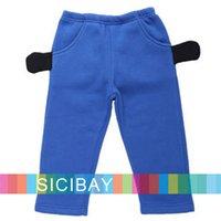 Wholesale Baby Wear Flannel - Wholesale-Free Shipping Baby Pants Cotton Winter Wear Long Cartoon Trousers K3758