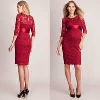 Wholesale Sexy Evening Dresses For Women - 2016 Modest Celebrity Maternity Dresses Red Carpet Evening Gowns Sexy Sheer Jewel Neck Half Sleeve Empire Lace Prom Dress for Pregnant Women