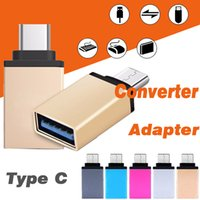 Wholesale Otg Adapter Iphone - Metal USB 3.1 Type C OTG Adapter Male to USB 3.0 A Female Converter Adapter OTG Function For iPhone Samsung Macbook Google Chromebook