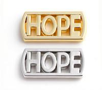 plaque espoir médaillon achat en gros de-De haute qualité 20pcs / lot argent plaqué or Lettre HOPE plaques de fenêtre flottant Fit pour magnétique 30MM verre Charms médaillon