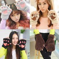 eldiven eldivenleri giydir toptan satış-Toptan Satış - Toptan-Tatil satış 2015 Kış Sıcak Kadınlar Eldivenler Kabarık Bear Peluş Paw Kürk Eldiven Eldivenler Ücretsiz Gönderim