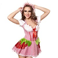 All'ingrosso-Exotic Donna Sexy Plaid rosso vestito floreale Strawberry Bowknot Costume Cosplay Fantasia Maid Uniforme Halloween Carnevale Lingerie