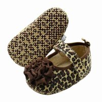 Wholesale Wholesale Leopard Crib Shoes - Wholesale-Fashion Baby Shoes Crib First Walkers PreWalkers First Walker Brown Leopard Flower Baby Shoes