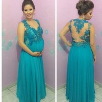 Wholesale Women See Robe - Elegant Evening Dresses For Pregnant Women 2016 Appliques Bead Chiffon Robe De Soiree Longue See Though Back Sexy Long Prom Gowns