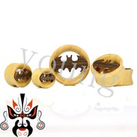 Wholesale Tunnels Piercing Sale Free Shipping - Hot sale beautiful design with high quality Free shipping bamboo wood plugs and tunnels ear gauges piercing body jewelry batman logo