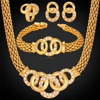 Wholesale Indian Costumes For Women - African Gorgeous Costume Necklace Bracelet Earrings Ring 18K Gold Plated Rhinestone Party Gift For Women Wedding Jewelry MGC NEHR1076