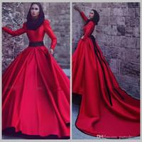 Wholesale Detachable Shirt Lace Wedding Dress - 2017 Red Full Sleeve Muslim Wedding Dresses With Detachable Train High Neck A-Line Satin Vintage Dresses Long vestido de noiva curto