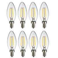 Wholesale Dimmable Led Candelabras - DHL LED 2Watt LED Filament Bulb,110V-220V E12 Candelabra Base, C35 Torpedo,No-dimmable 2700K Warm Soft White (25W Incandescent Chandelier