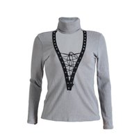 39fe89a9c8 Promotion Autumn Sexy Women Ribbed T Shirt Lace Up Plunge Tops Turtleneck Long  Sleeve Pullover Jumper V Neck Knitwear Pull Femme
