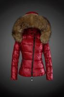 меховая куртка роскошь вниз женщин оптовых-Новый бренд женщина мода роскошные короткие пуховик реального енота меховой воротник толстовки ветровки сверху вниз пальто бренд ветровки