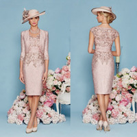 Wholesale Champagne Dress For Brides Mother - Ronald Joyce 2016 Mother Of The Bride Dresses For Weddings Knee Length Lace Applique Sheath Mother's Dress V Neck Mother Evening Gowns
