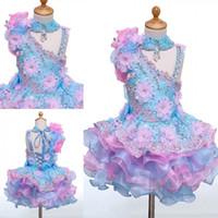 puanı dantel boncuklu çiçek kız elbiseleri toptan satış-Güzel Yüksek Boyun Mini Kısa Kek kızın Pageant elbise Aplikler Boncuklu Lace up Geri Çiçek Kız Elbise Çocuk Doğum Günü Partisi elbiseler