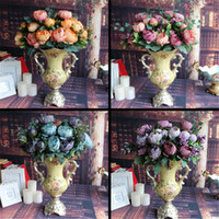 Wholesale Home Decor Silk Flower Arrangements - Wholesale- Artificial Fake Peony Silk Floral 12 Heads Flowers Bridal Flower Arrangement Home Wedding Table Party Decor Flores Artificiales